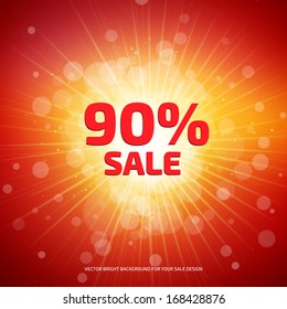 Bright red and orange Sale background with rays.