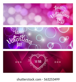 Bright Red and Pink Horizontal Banners. Valentines Day Concept. Vector Shiny Backgrounds with Decorative Graphic Elements.
