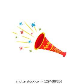 Bright red plastic trumpet. Festive Brazilian vuvuzela. Carnival noisemaker. Flat vector for promo poster or banner