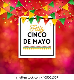 Bright red poster elements for Cinco de Mayo celebration over obscured spotted background with flags