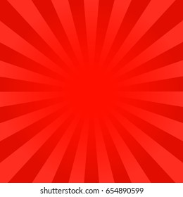 Bright red rays background. Comics, pop art style. Vector, eps 10.