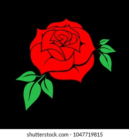 Bright Red Rose in Vector