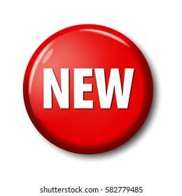 Bright red round button with word 'New'. Circle label for new products in online shops. Design elements on white background with transparent shadow.