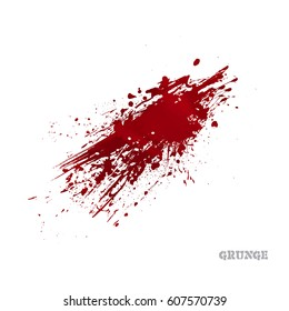 Bright red splash, isolated on white background. Vector Splats. Blots and Splashes. Grunge Ink Stains. Different blood drops