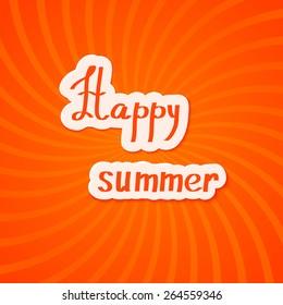 Bright red summer background. Happy summer! Vector illustration.