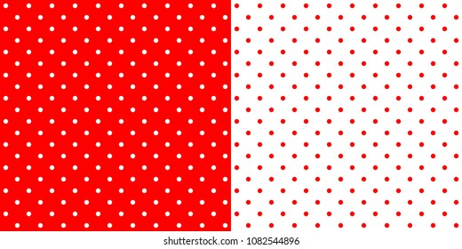 Bright red traditional retro design polka dot pattern, two inverted tiles in a seamless geometric repetition.