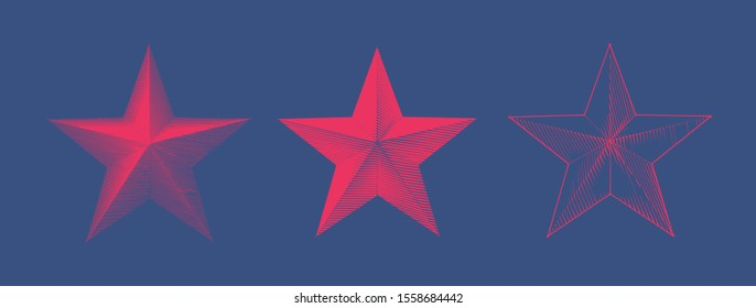 Bright red vintage Engraved drawing Christmas star three glyph style vector illustration isolated on deep blue background