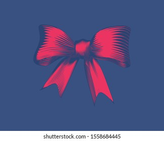 Bright red vintage engraved drawing of gift ribbon decoration isolated on deep blue background
