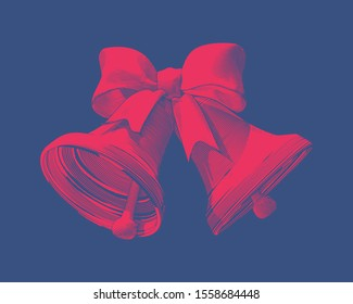 Bright red vintage Engraved drawing of Christmas decoration bell and ribbon glyph style vector illustration isolated on deep blue background