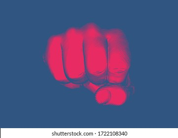 Bright red vintage engraved drawing hand fist punching gesture toward camera vector illustration isolated on deep blue background