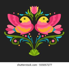 Bright red and yellow birds on dark background. Fragment of folkloric ornament. Vector hand drawn illustration.