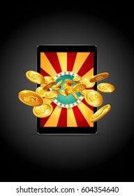 Bright retro banner for online casinos, poker, roulettes or slots. Coins are falling from the tablet. The big jackpot. You are the winner