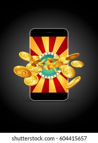 Bright retro banner for online casinos, poker, roulettes or slots. Coins are falling from the smartphone. The big jackpot. You are the winner.