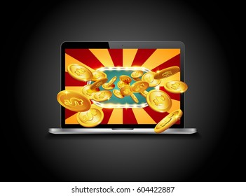 Bright retro banner for online casinos, poker, roulettes or slots. Coins are falling from the laptop. The big jackpot. You are the winner.