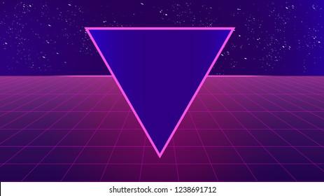 Bright retro pink purple background futuristic landscape 1980s style with a triangle