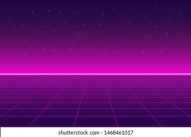 Bright retro pink purple background futuristic landscape 1980s style