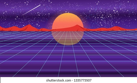 Bright retro violet background futuristic landscape 1980s style with sun, reflection and the mountains