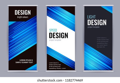 Bright Roll-up banner with blue lines on dark background. Set vertical banners with empty place for text. Design Abstract vector graphic background.