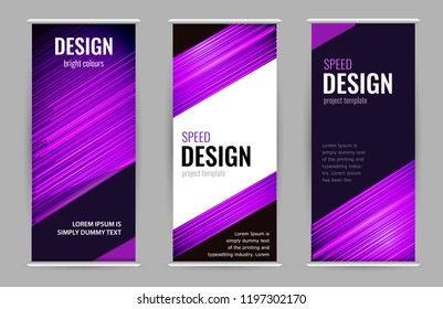 Bright Roll-up banner with purple lines on dark background. Set stand banners with empty place for text. Design Abstract vector graphic background.
