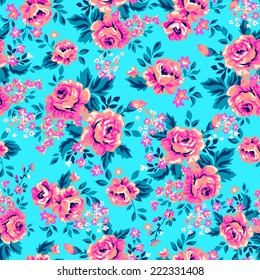 Bright roses on blue ~ seamless background