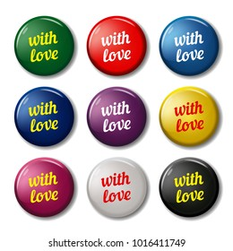 Bright round labels with words 'With love'. Valentines day signs for web sites. Vector symbols isolated on white background.