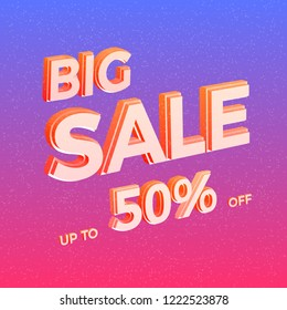 Bright Sale Vector Banner. Colorful Advertisement Background with 3D Text. Vector Illustration.