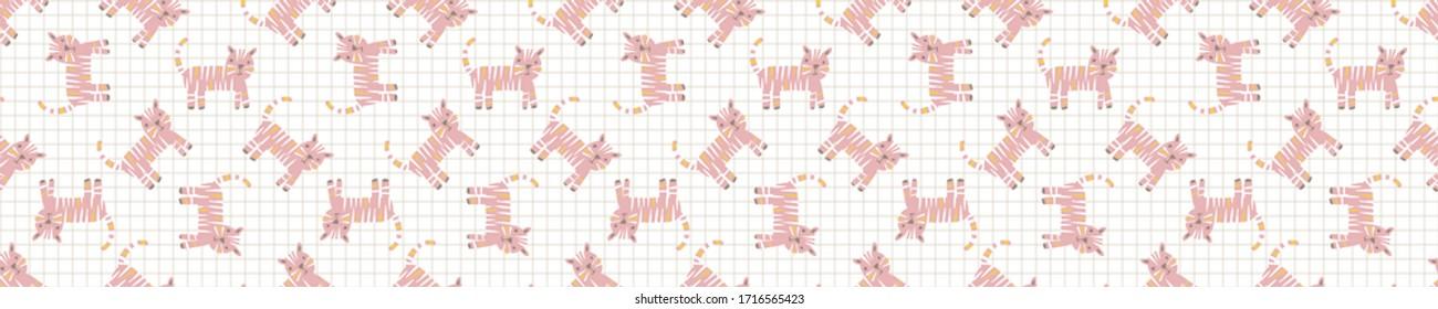 Bright scandi tiger cat seamless vector border pattern. Stylized cute kids animal doodle banner. Kawaii playful kitty decor ribbon trim edge. Decorative modern girly japanese stationery washi tape.
