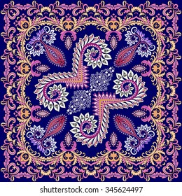 bright scarf with a wide border in the Renaissance style on a blue background is decorated with swirls and paisley with festoons
