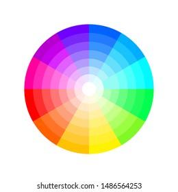 Bright scheme color wheel, multicolor round circle palette