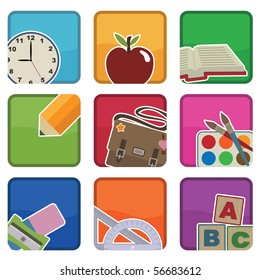 bright school icons with motifs, with clipping masks