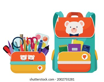 A bright school pencil case, a bag, a backpack, a briefcase is filled with school stationery. Pen, pencil, scissors, ruler, paint, textbook. Back to school.  Vector illustration on a white background.