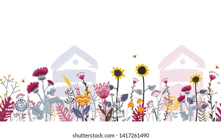 Bright seamless meadow border with beehives, bees, and flowers. Vector. Apiary concept. Doodle rural flowers and herbs. Sunny country day illustration for beekeeping and cards design.