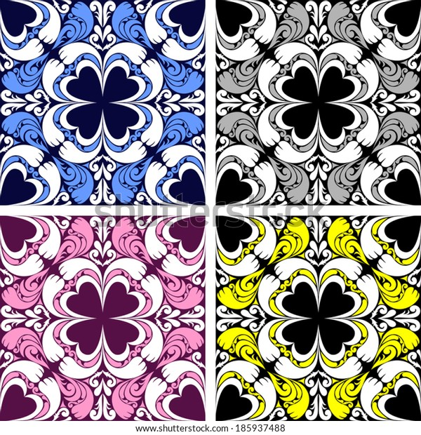 Bright seamless ornamental Pattern in four variants.