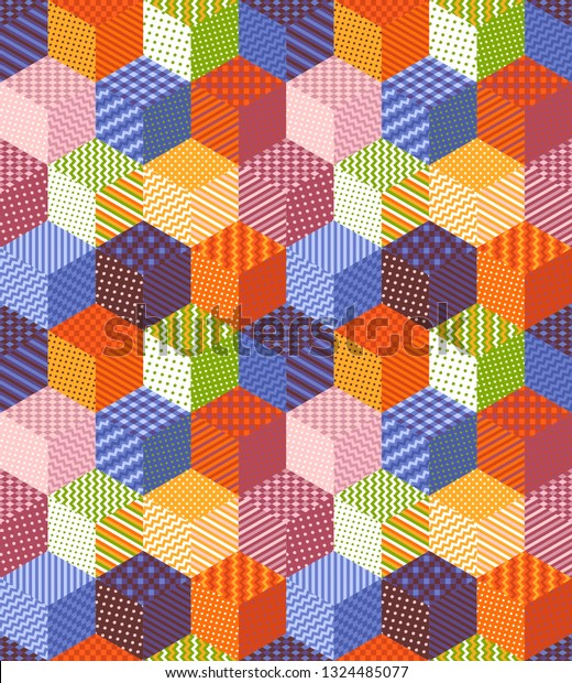 Bright seamless patchwork pattern from colorful cubes with geometric ornaments. Quilt design.