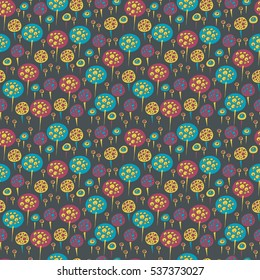 Bright seamless pattern with abstract round elements. Vector illustration.