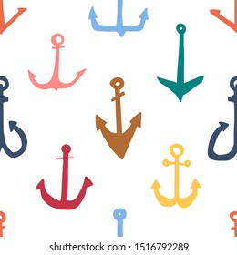 Bright seamless pattern anchor sketch hand drawn. Anchor various shapes and designs. Simple children's pattern with anchors various shapes and colors, for printing on fabric. Vector illustration.