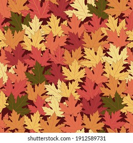 Bright seamless pattern with autumn leaves