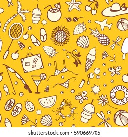 Bright seamless pattern background for summer time with shells, sunflowers, coconuts, cocktails, bags, butterflies, dragonflies, hats, swimwear, fishing rods, ice cream, palm trees, bubbles etc