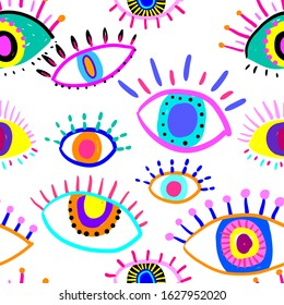 Bright seamless pattern with colorful eyes. Texture background. Wallpaper for teenager girls. Women's fashion style