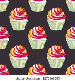 Bright seamless pattern with cupcakes.