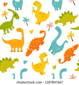 Bright seamless pattern with cute dinosaurs of different species. Diplodocus, stegosaurus, parasaurolophus, trex, ankylosaurus
