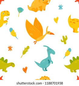 Bright seamless pattern with cute dinosaurs of different species. iguanodon, stegosaurus, triceratops, pterodactyl