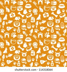 bright seamless pattern with funny cat and dog icons - vector illustration