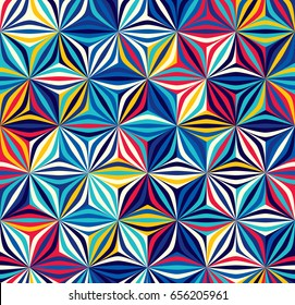 Bright seamless pattern of geometric shapes. Color creates the volume elements.
