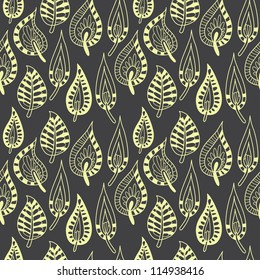 Bright seamless pattern with leaves. Vector illustration