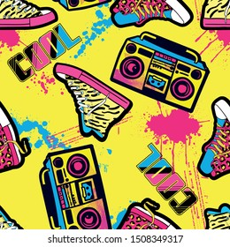 Bright seamless pattern with sneakers and tape recorder. 90s style. Background for textiles, clothes, prints, wrapping paper and other