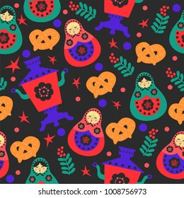 Bright seamless pattern in traditional Russian style. Vector background with nesting doll, samovars and pretzels.