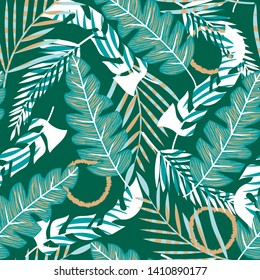 Bright seamless pattern with tropical plants on green background. Vector design. Jungle print. Textiles and printing.