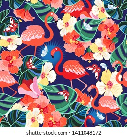 Bright seamless pattern of tropics flamingos among the jungle and flowers