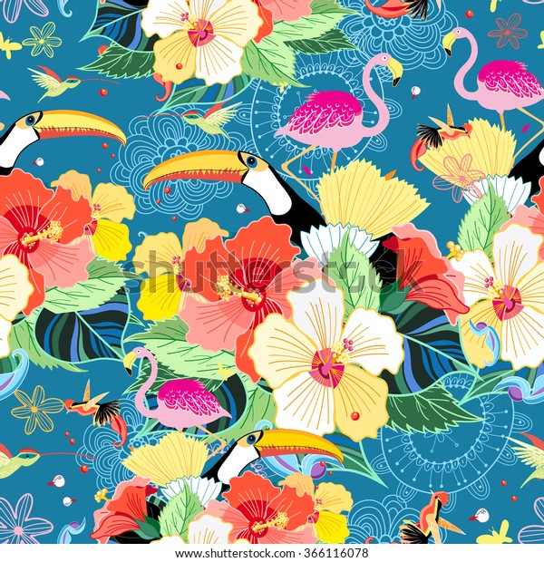bright seamless tropical pattern with flowers and birds on a blue background